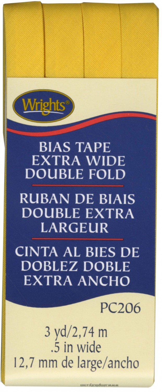 Wrights - Bias Tape - Extra Wide Double Fold - 117-206-079 - Yellow