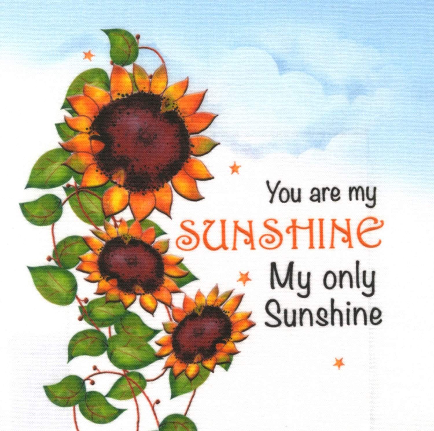 Jody Houghton - Fabric Art Panel - AP620 - You are my Sunshine - 6in x 6in