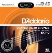 D'Addario EXP Coated 80/20 Acoustic Strings