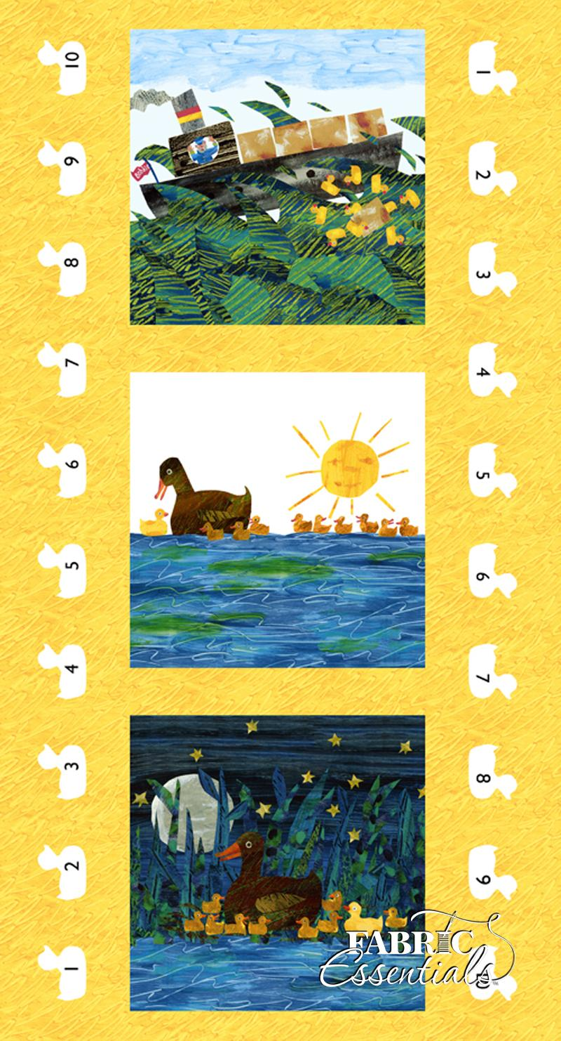 Andover - Eric Carle - 10 Little Rubber Ducks - Yellow PANEL - Ducks - A-5694-M