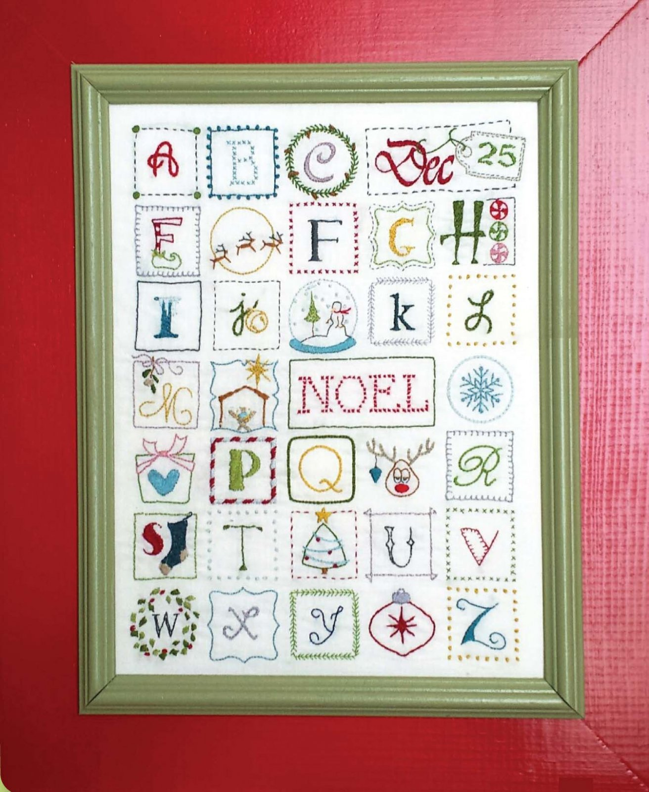 Christmas ABC Embroidery Sampler  DIGITAL DOWNLOAD