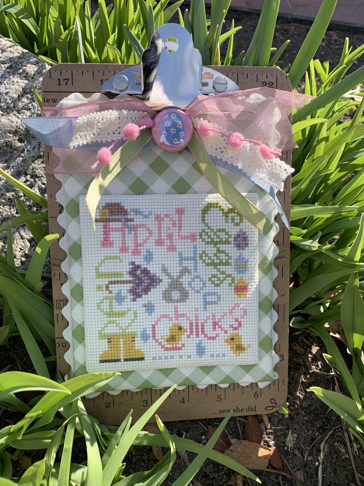 April Typography cross stitch pattern