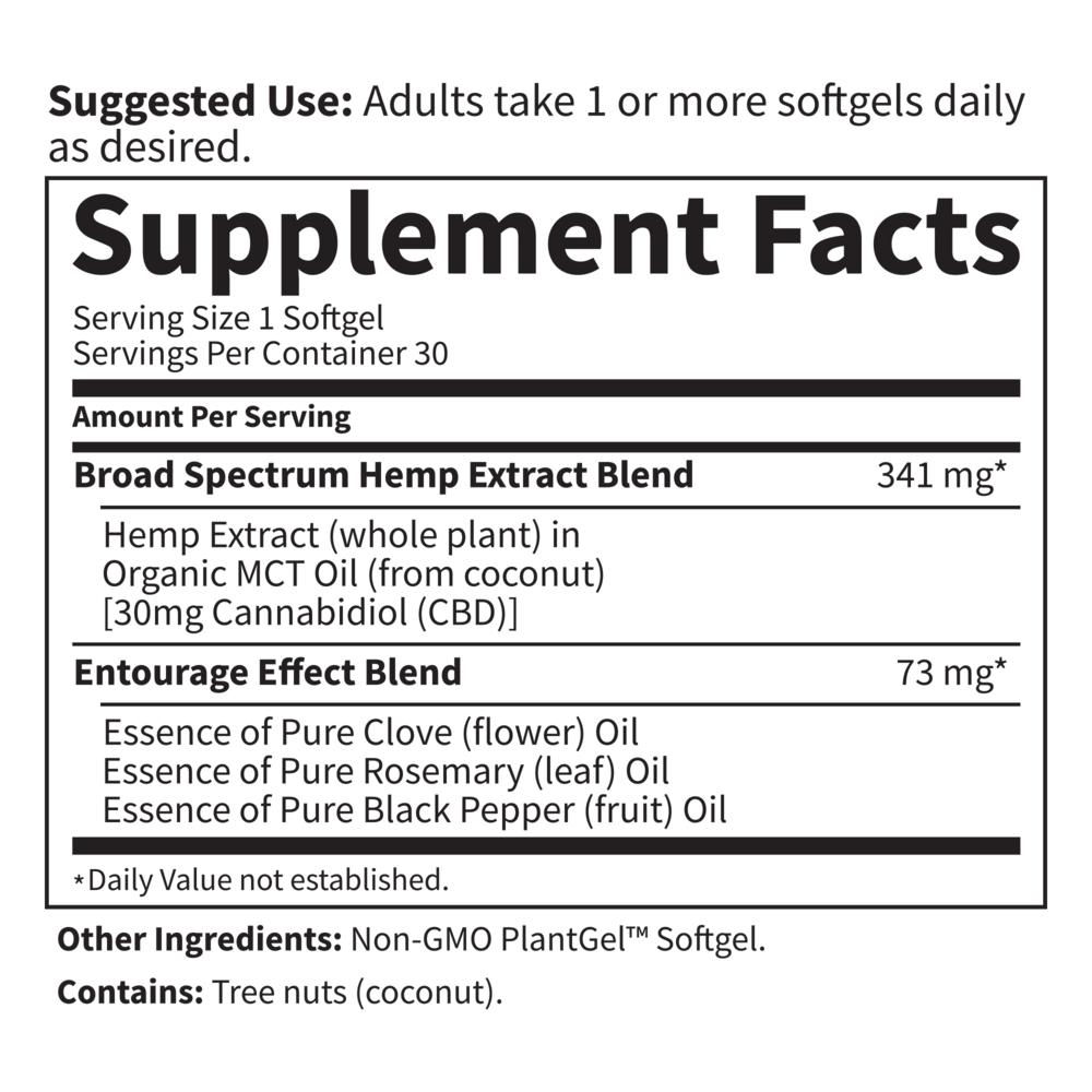 Dr. Formulated CBD 30mg Whole Hemp Extract 30 Softgels