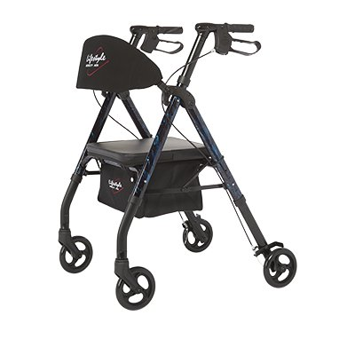 Walker Rollator, 4-Wheel, 6 Wheel w/ Seat, Lifestyle 807U, Adjustable Frame