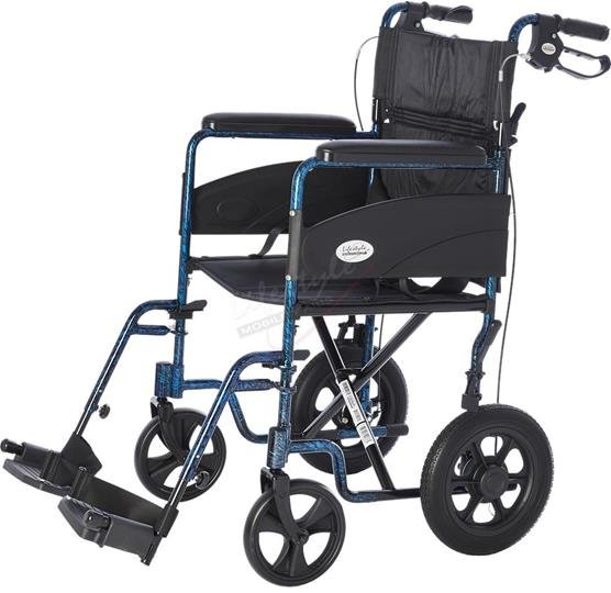 Transport / Companion Wheelchair, 19 w/ 12 Wheels and Hand Brakes, 300 lb. Wt. Capacity