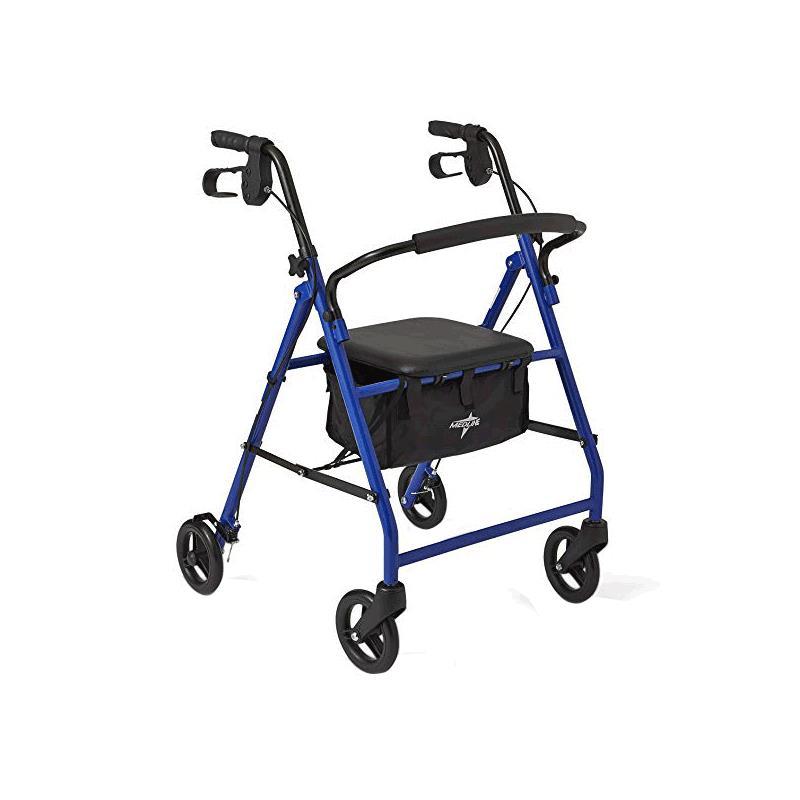 Walker Rollator, 4-Wheel w/ Seat, Medline Basic Steel 6 Wheel