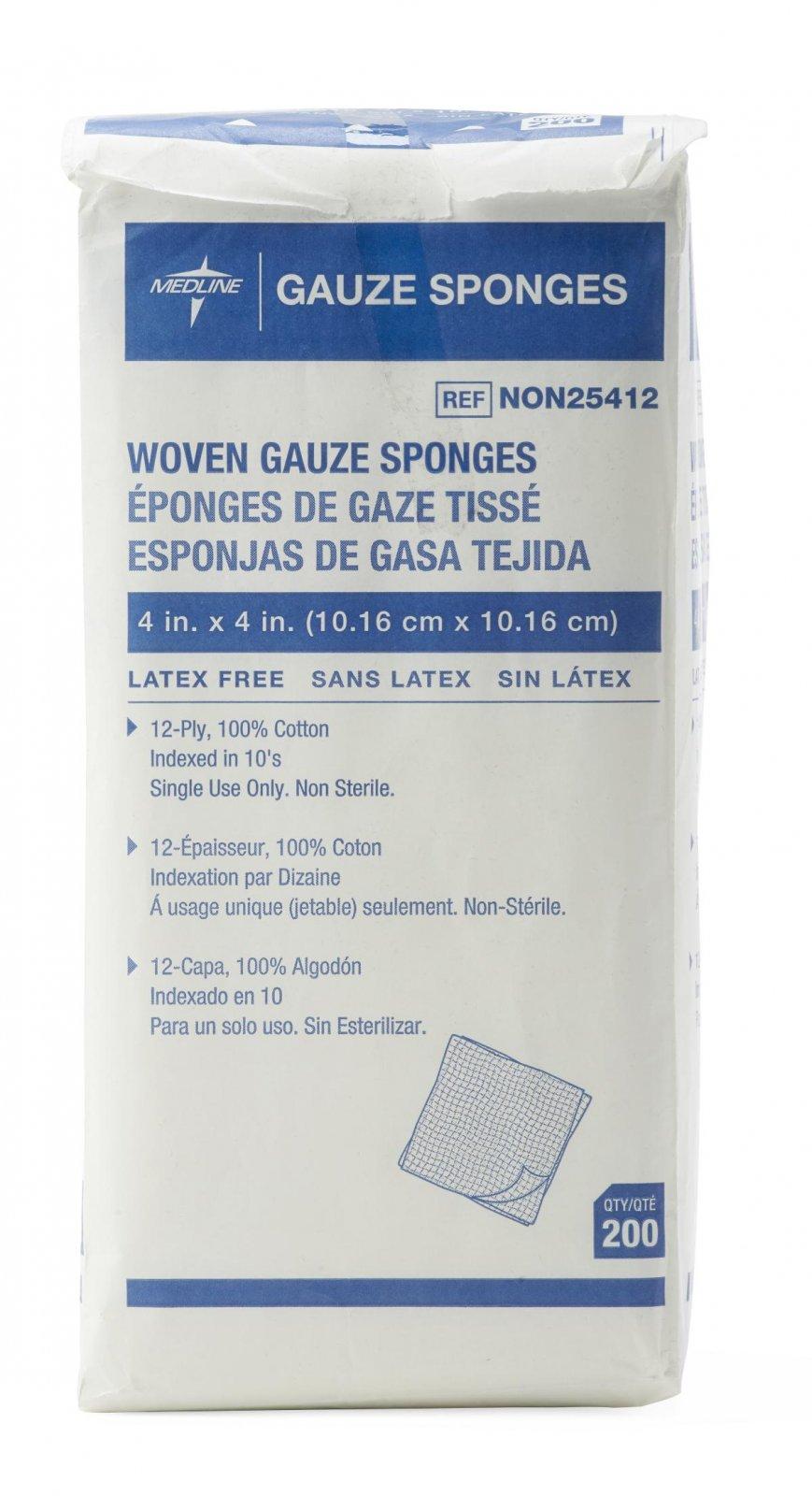 Guaze Sponge, 4 x 4, 12 Ply, 200 Ct., Non-Sterile