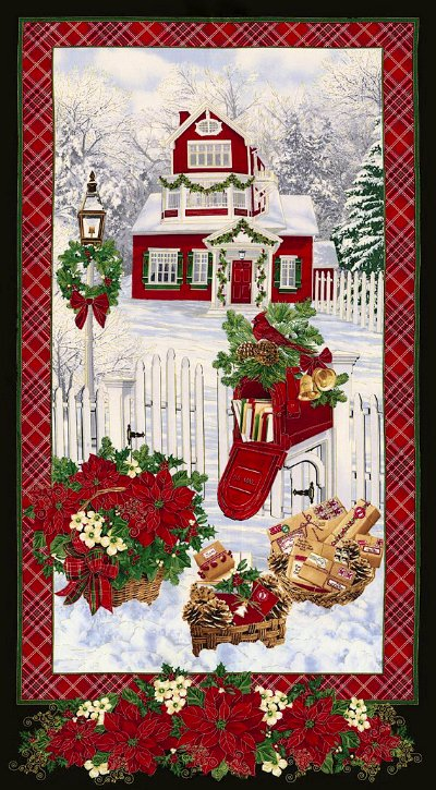 Holiday Metallic Snowy Home Panel, 24 by 44/45