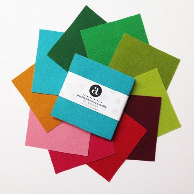 WoolWerks 5 x 5 Bundle Pre-Felted Wool: Merry & Bright