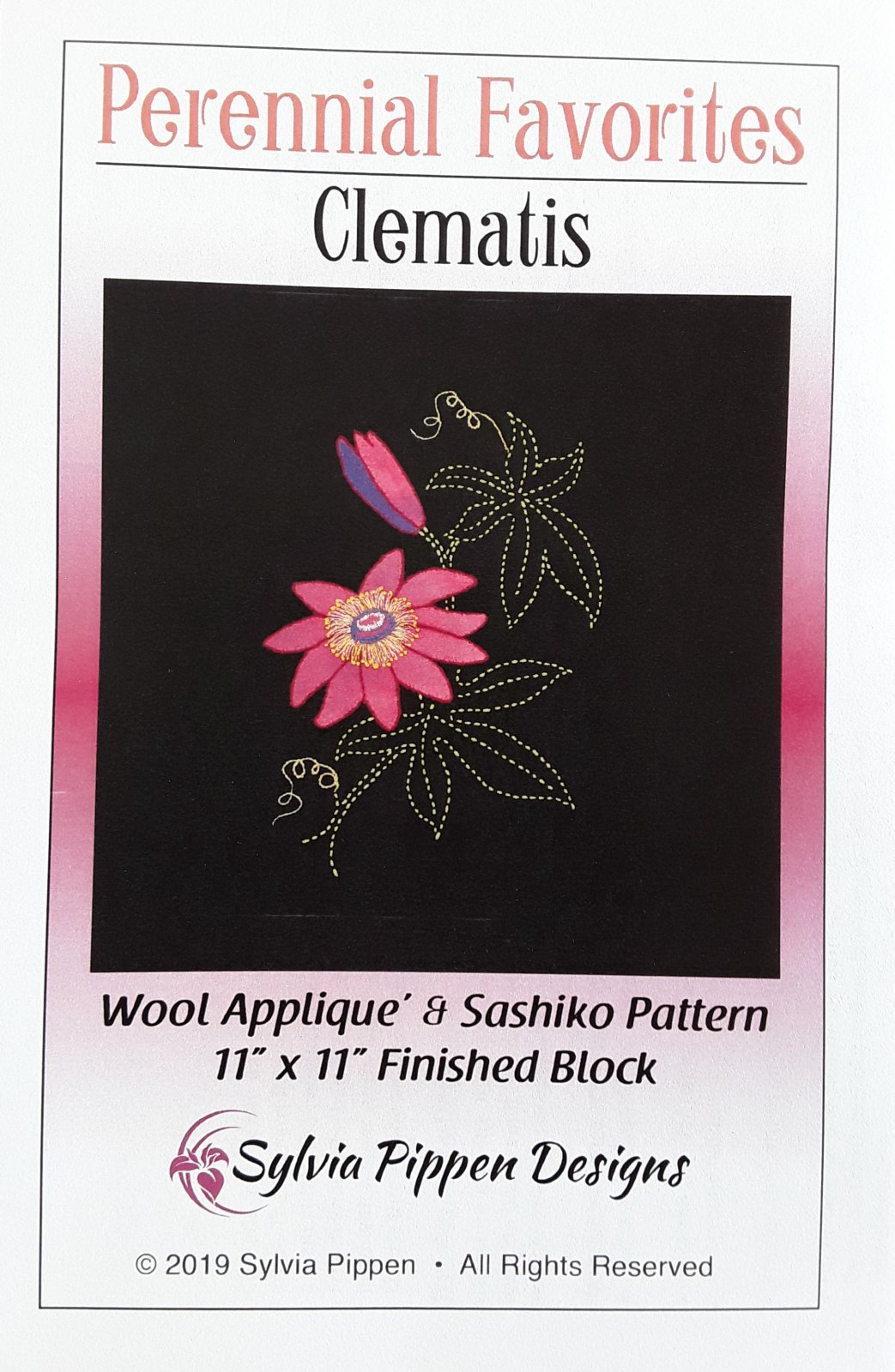 Perennial Favorites Clematis Wool Applique & Sashiko Pattern