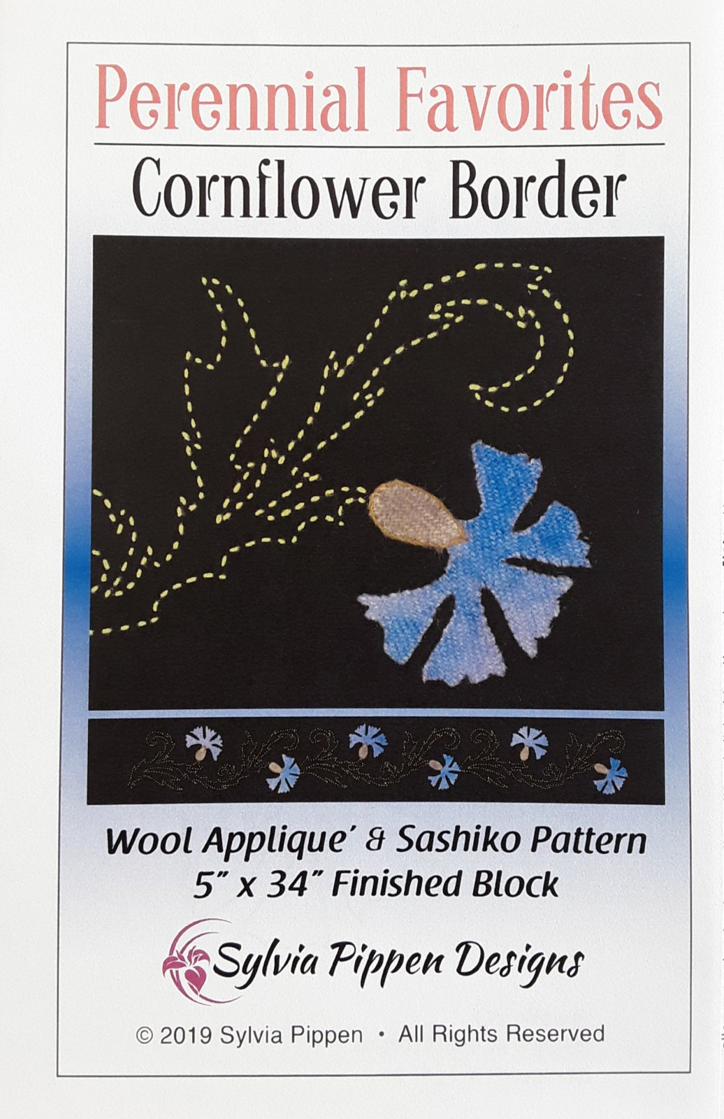 Perennial Favorites Cornflower Border Wool Applique & Sashiko Pattern