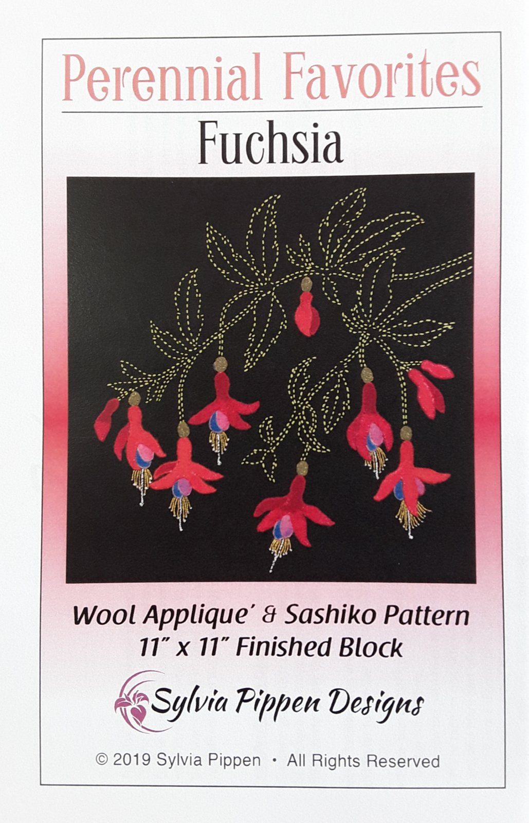 Perennial Favorites Fuschia Wool Applique & Sashiko Pattern