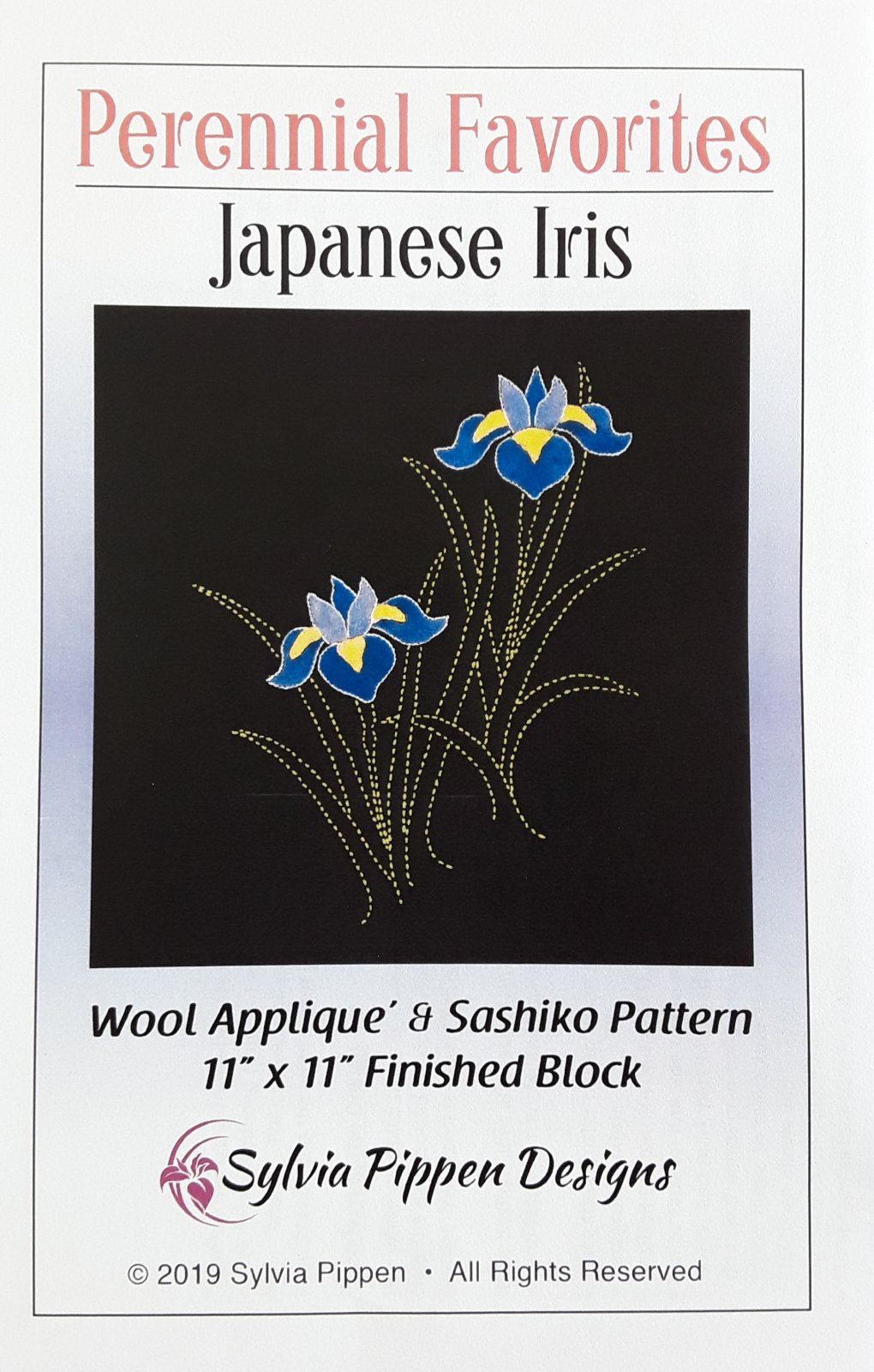 Perennial Favorites Japanese Iris Wool Applique & Sashiko Pattern