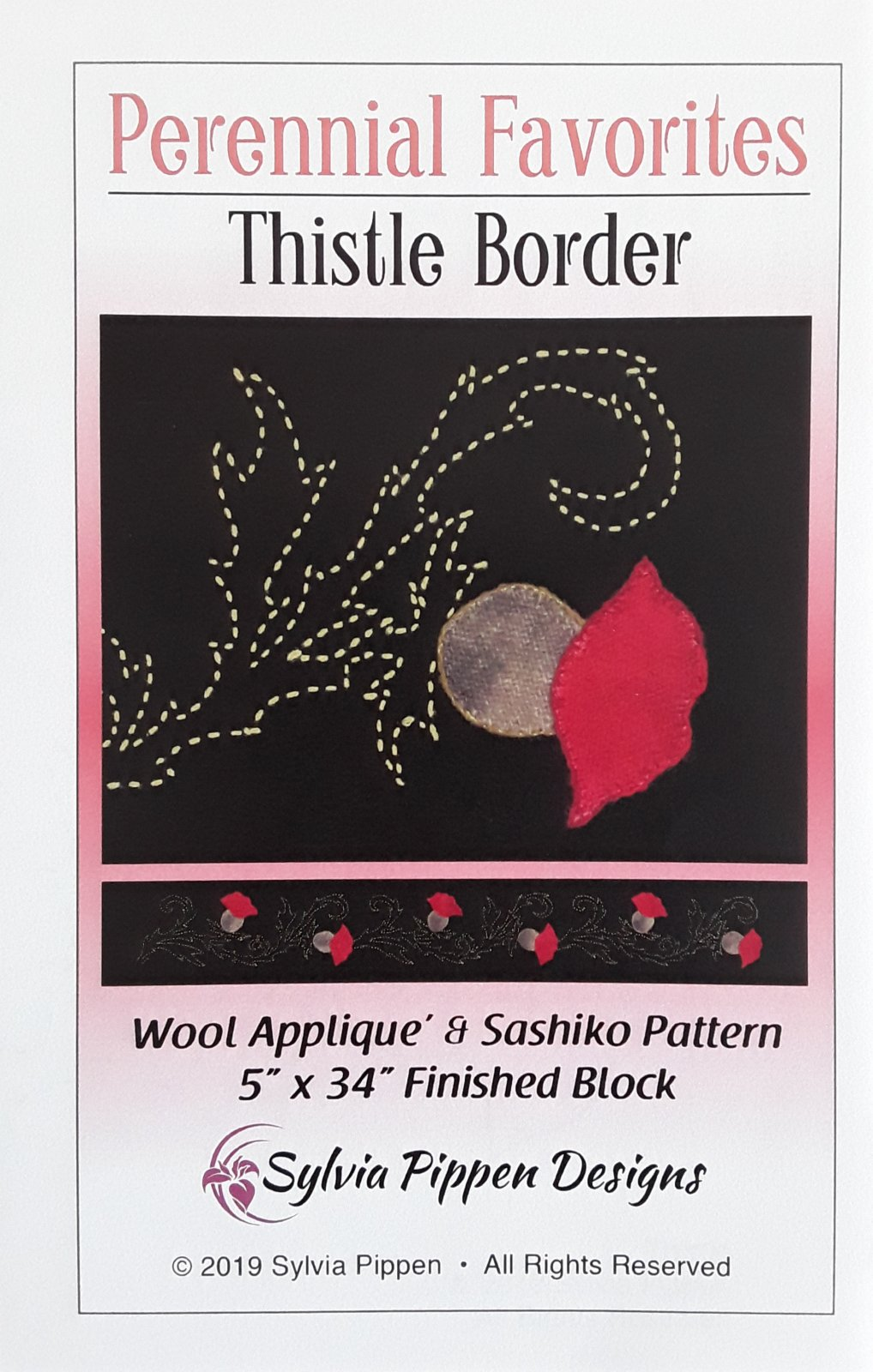 Perennial Favorites Thistle Border Wool Applique & Sashiko Pattern