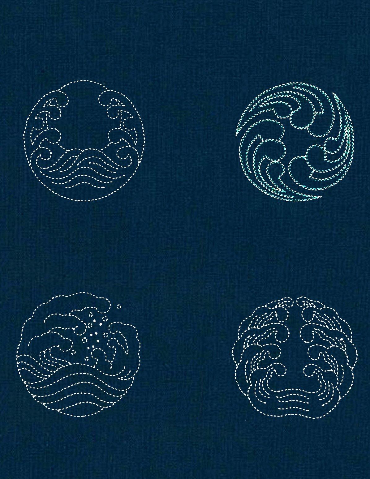 Four Waves Sashiko Panel