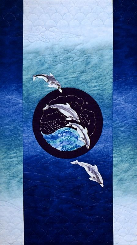 Dolphins & Waves Quilt Pattern Japanese Sashiko & Applique Design