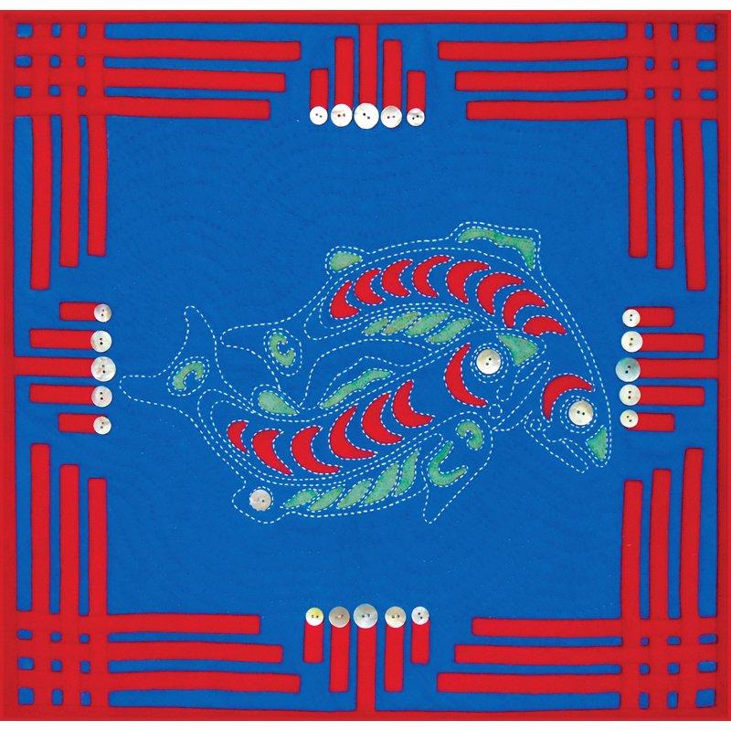 Alaskan Salmon Ocean Quilt Pattern w/ Wool Applique & Sashiko