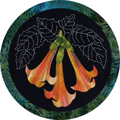 Angels Trumpet Tropic Flower Quilt Pattern Sashiko & Applique Design