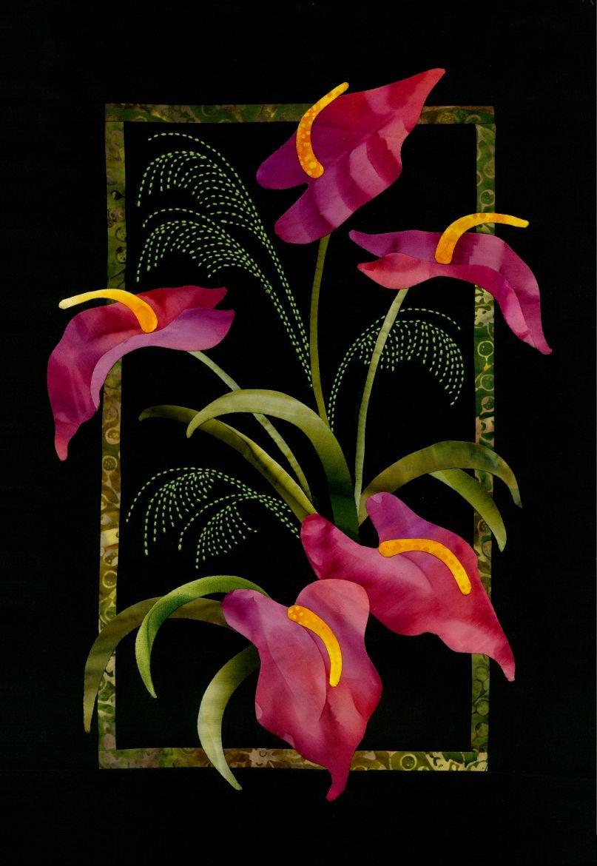Anthurium & Grasses Exotic Flowers Sashiko & Applique Fabric Kit