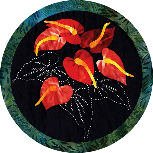 Anthurium Tropical Flower Quilt Pattern Sashiko & Applique Design