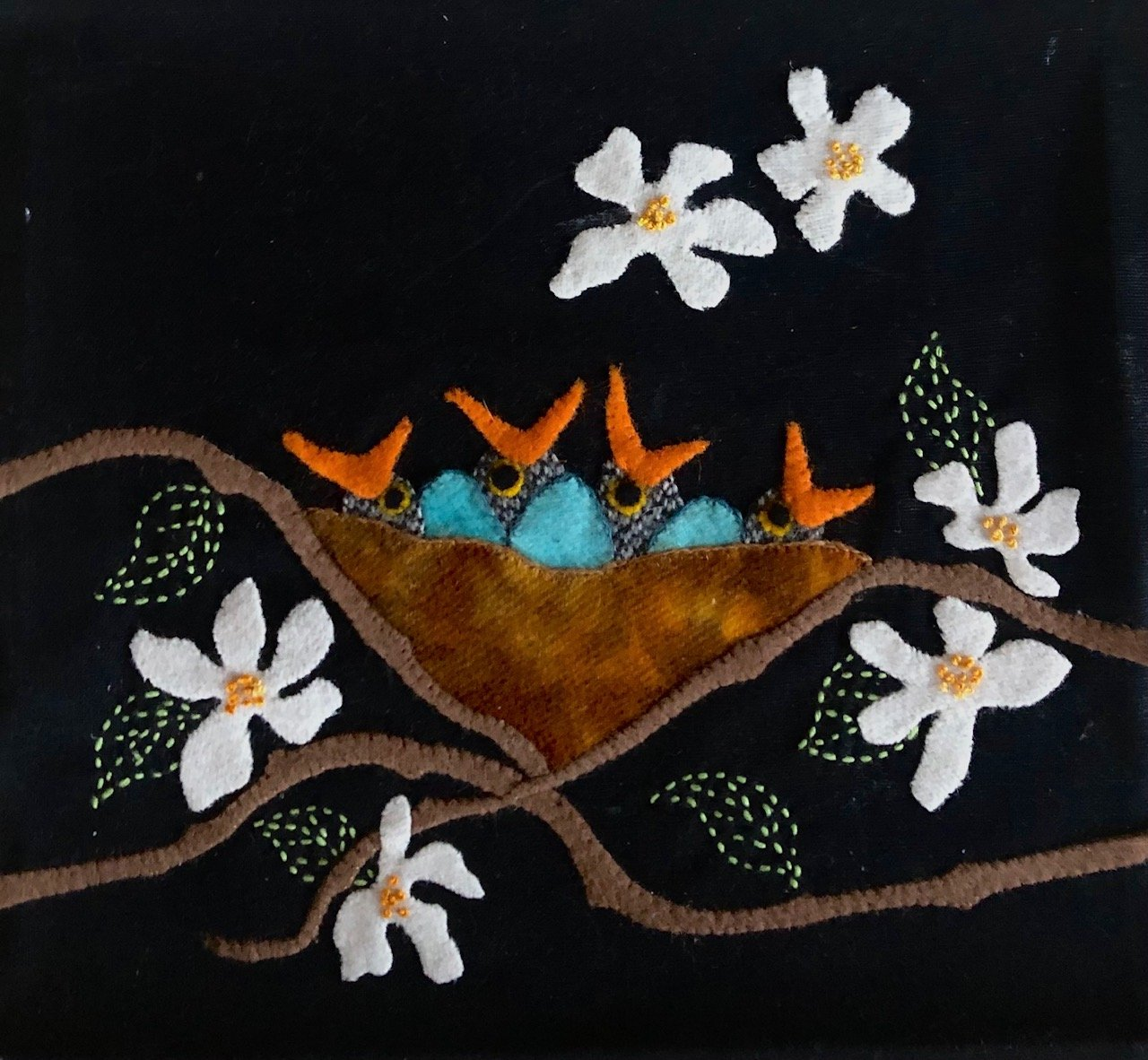 Baby Birds Block #6 Garden Vignettes Mystery BOM