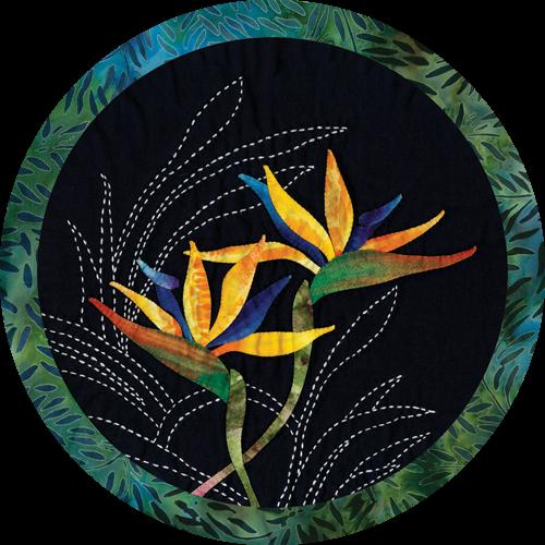 Bird of Paradise Tropical Flower Quilt Pattern Sashiko & Applique Design