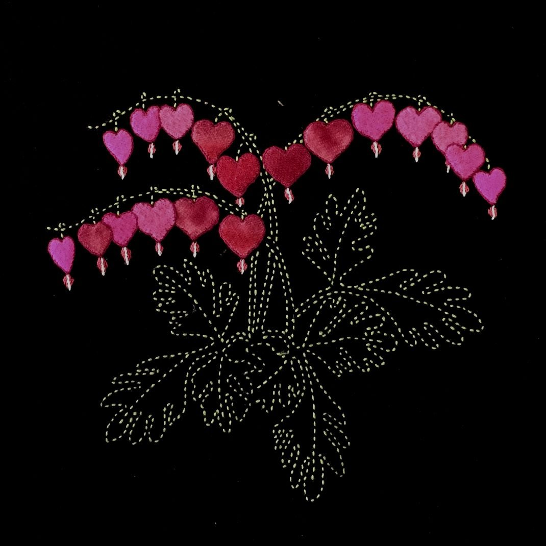 Perennial Favorites Pink Bleeding Hearts Wool Applique & Sashiko Fabric Kit