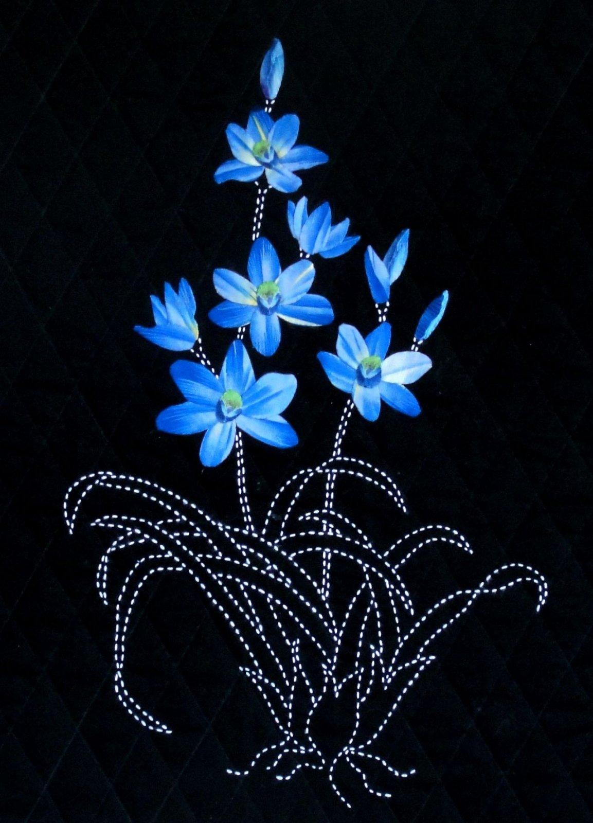 Blue Lady Orchid Australian Quilt Pattern Sashiko & Applique Design