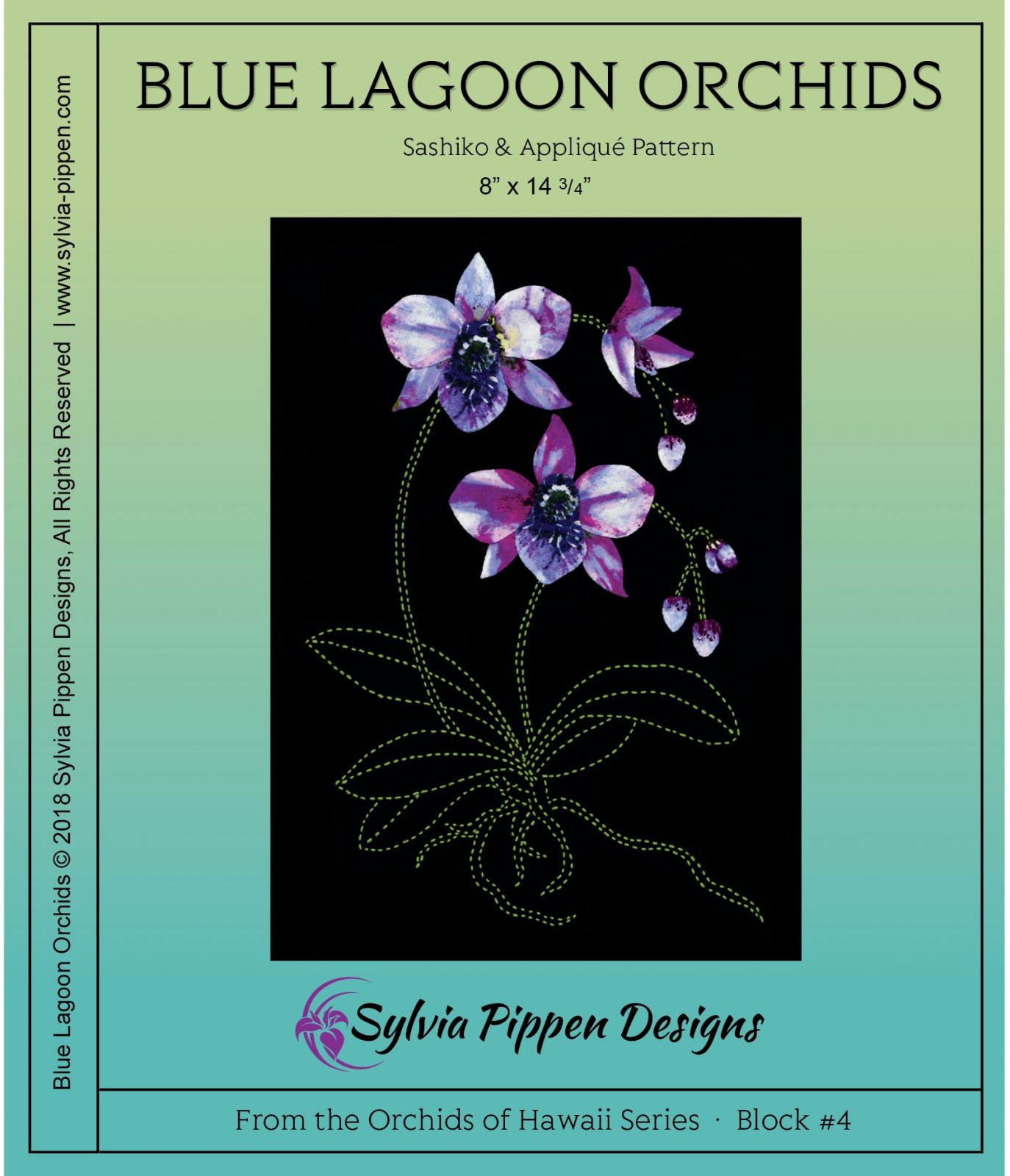 Blue lagoon Orchids Sashiko & Applique Pattern from Orchids of Hawaii series