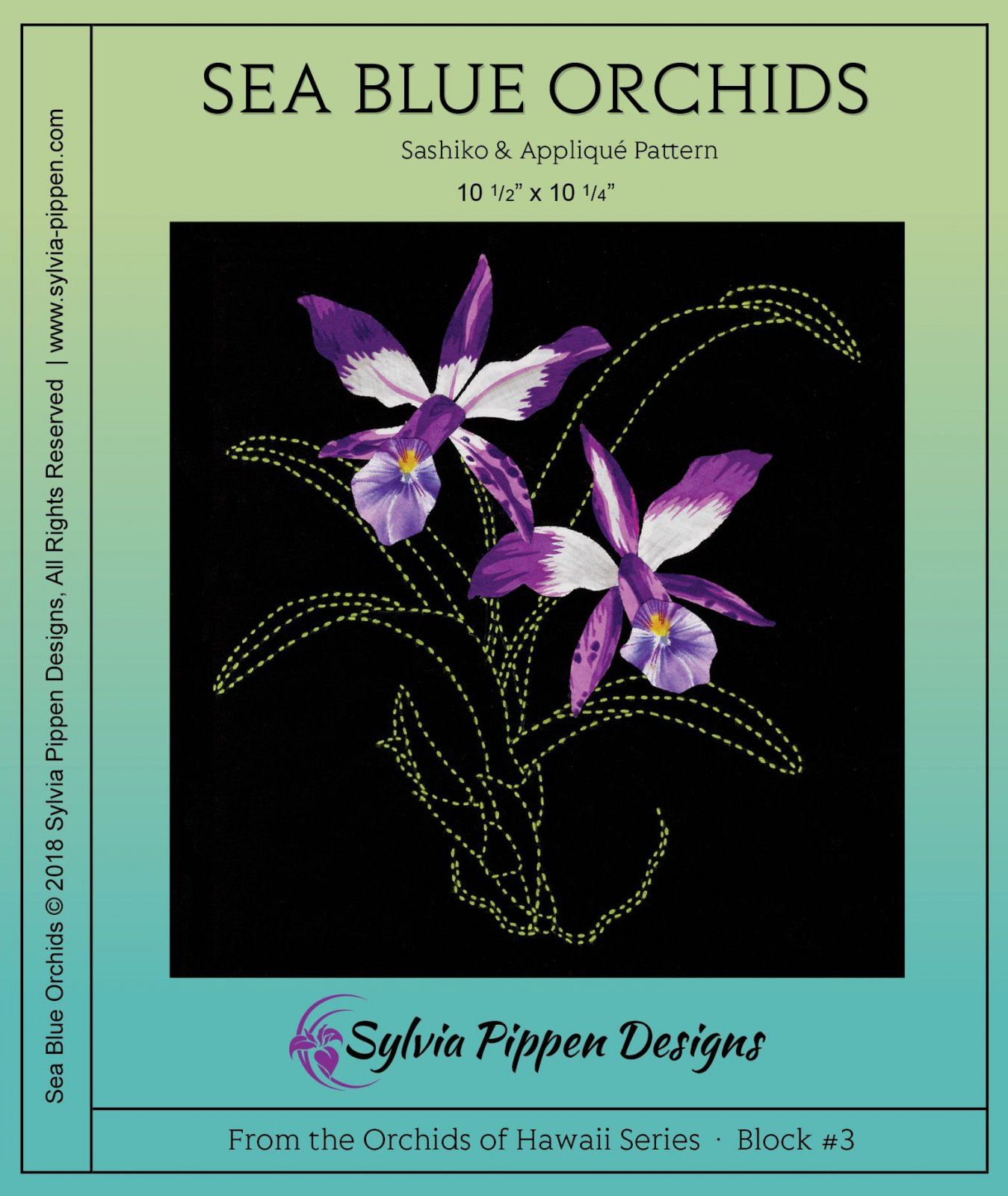 Sea Blue Orchids Sashiko & Applique Pattern from the Orchids of Hawaii Series