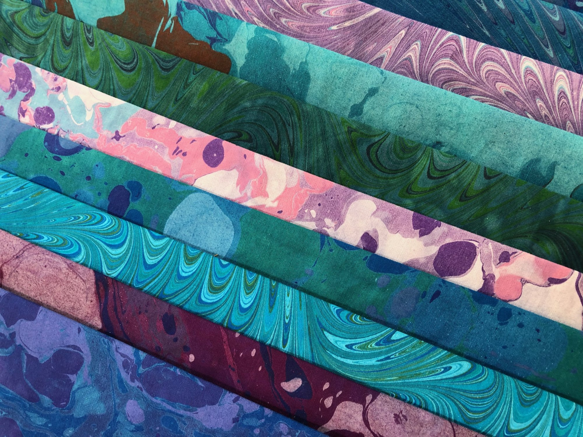 Hand-dyed Marbled Cotton Fabric Pack by Suzi Soderlund - Blues/Purples/Greens VARIETY