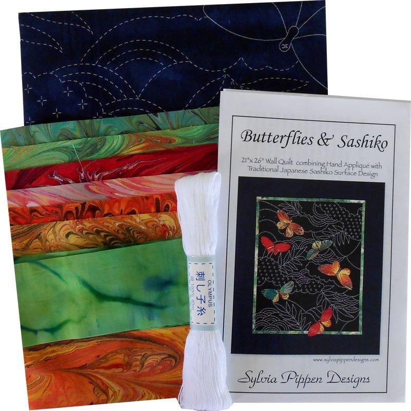 Butterflies & Sashiko Japanese Pre-printed Marbled Fabric Kit