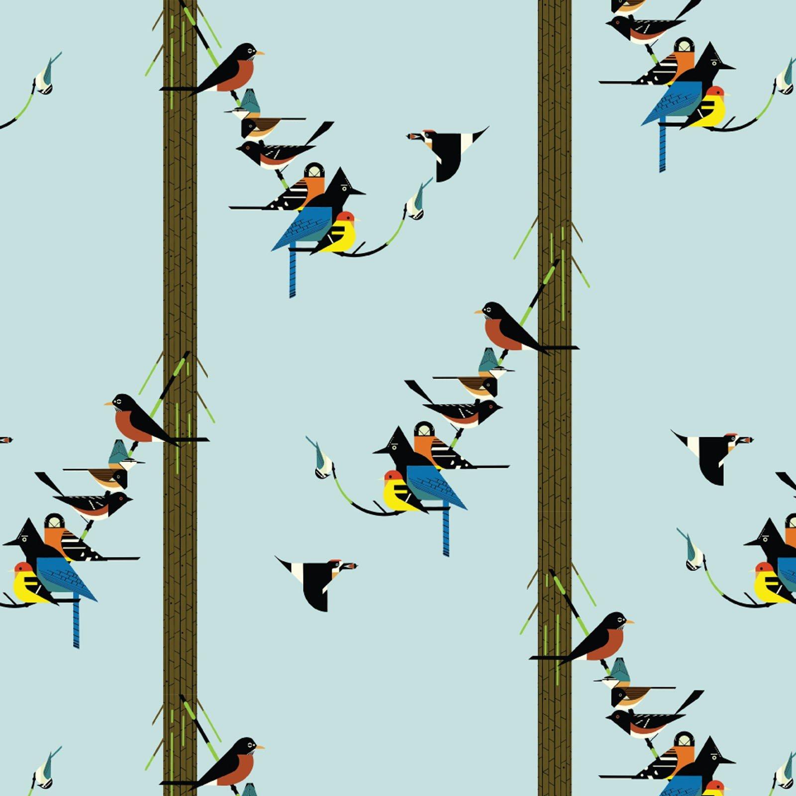 Charley Harper Sierra Range- Birds on Pine