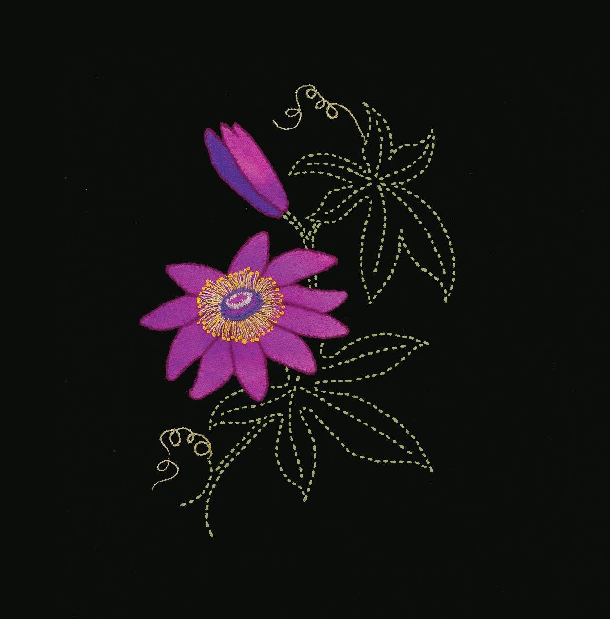 Perennial Favorites Clematis Wool Applique & Sashiko Fabric Kit