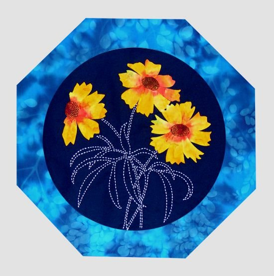 Coreposis American Wildflowers Pattern Sashiko & Applique Design