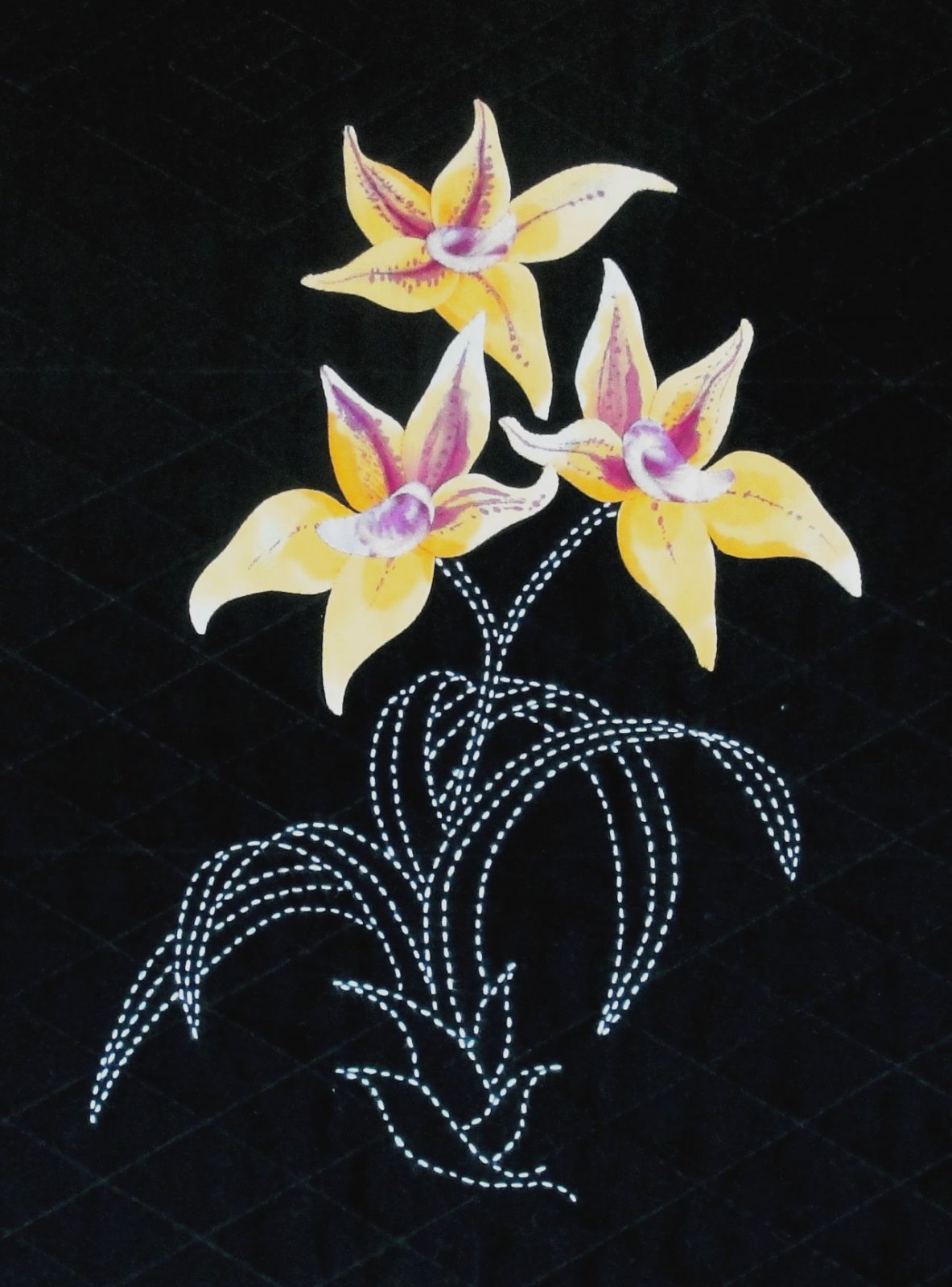 Cowslip Orchid Australian Wildflowers Pattern Sashiko & Applique Design