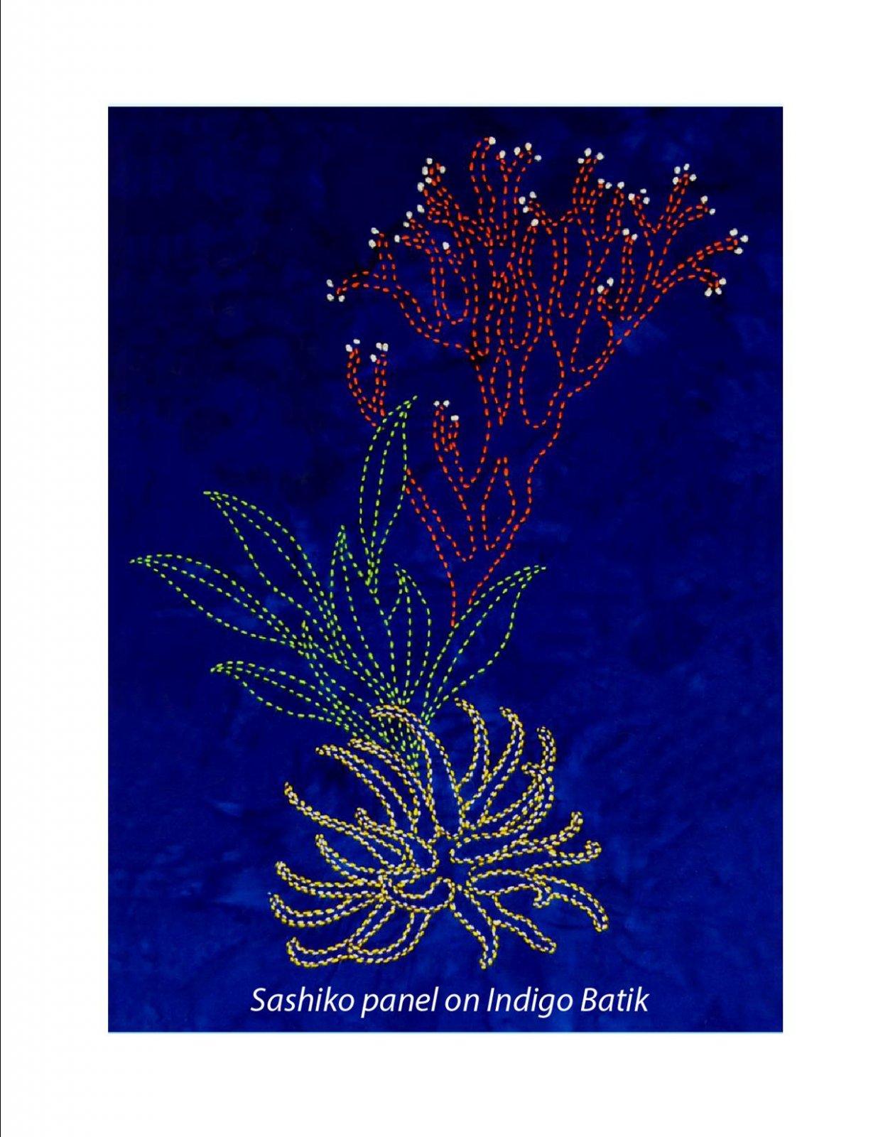 Coral Reef Anemones & Grasses Sashiko Panel