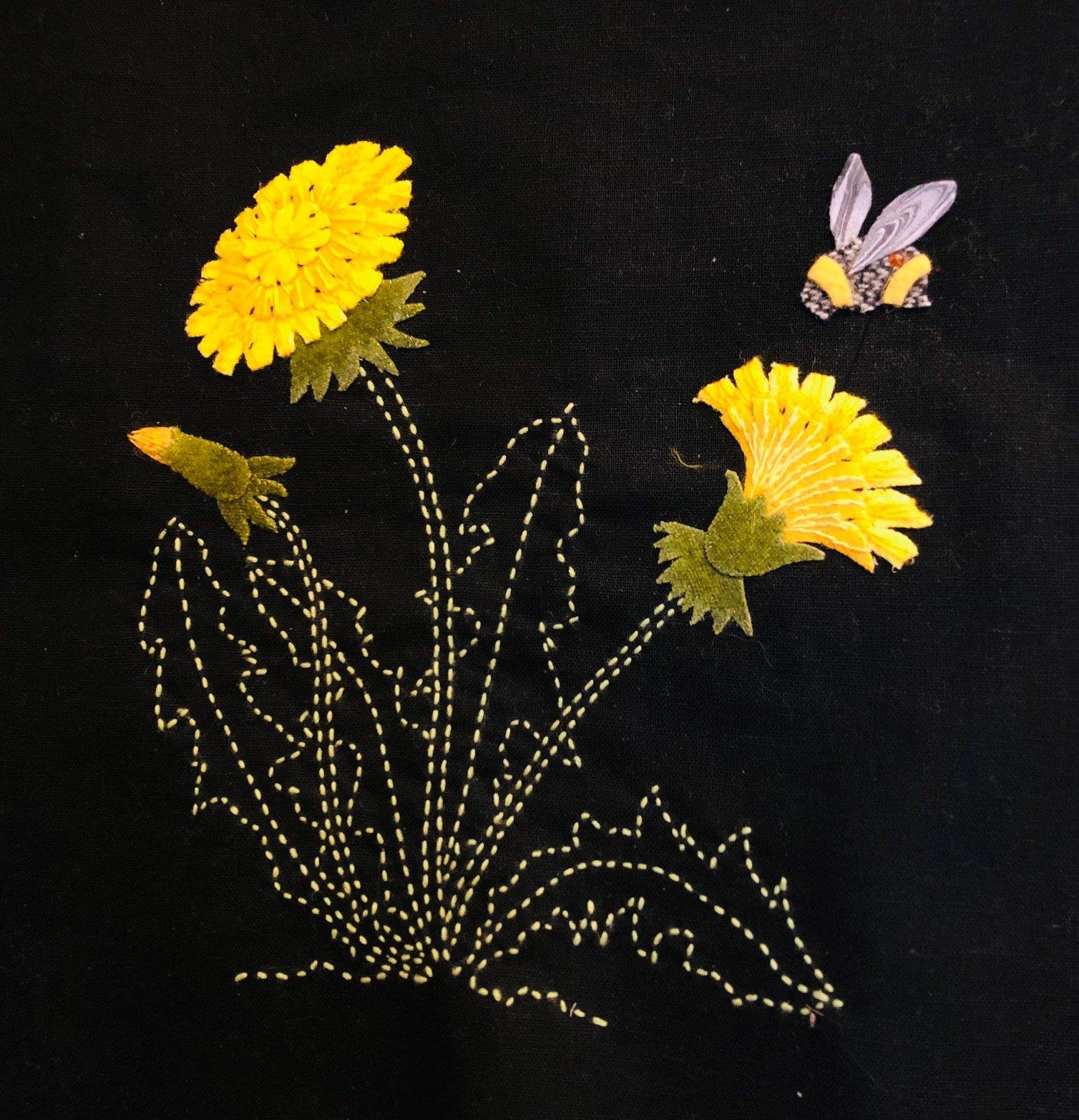 Dandelions & Bumblebee  Block #8 Garden Vignettes Mystery BOM