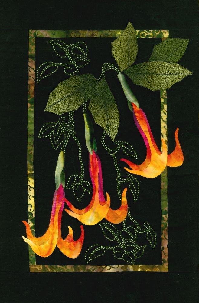 Datura & Vines Exotic Flowers Sashiko & Applique Fabric Kit