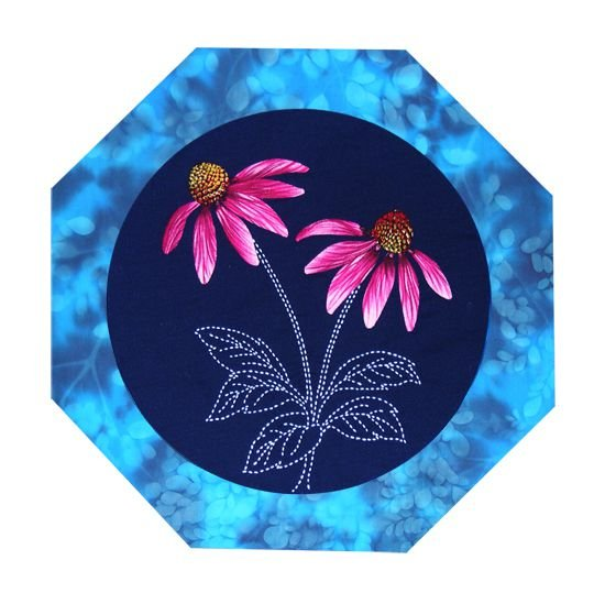Echinacea American Wildflowers Pattern Sashiko & Applique Design
