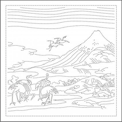 Hana-Fukin Mt. Fuji Seven Cranes Sashiko Sampler White