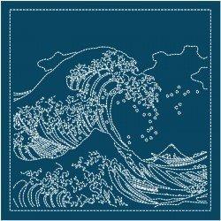 Hana Fukin Great Wave off Kanagawa Sashiko Sampler Navy