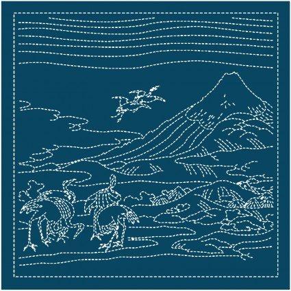 Hana Fukin Mt Fuji Seven Cranes Sashiko Sampler Navy