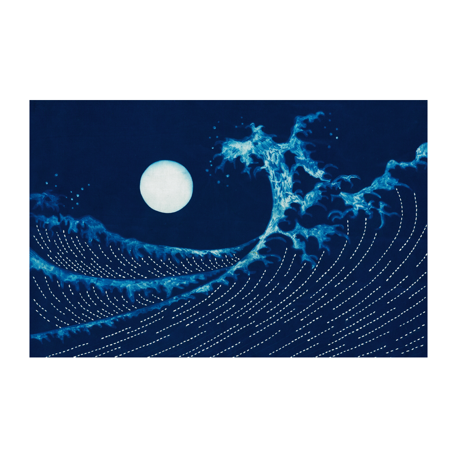 Full Moon & Waves Cyanotype Pre-printed Japanese Sashiko Fabric Panel