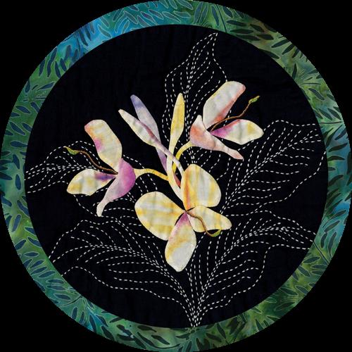 Ginger Tropical Flower Quilt Pattern Sashiko & Applique Design
