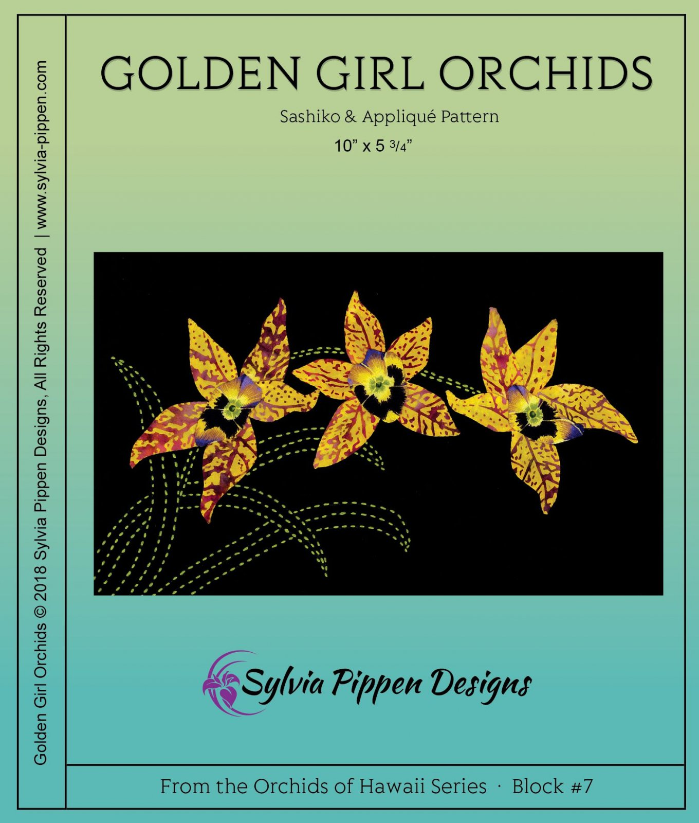 Golden Girls Orchids Sashiko & Applique Pattern from Orchids of Hawaii Series