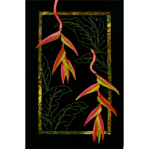 Hanging Heliconia Exotic Flowers Pattern Sashiko & Applique Design