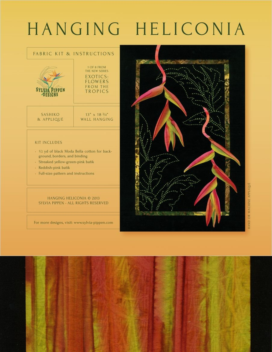 Hanging Heliconia Exotic Flowers Sashiko & Applique Fabric Kit