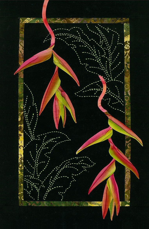 Hanging Heliconia Exotic Flowers Sashiko & Applique Fabric Kit