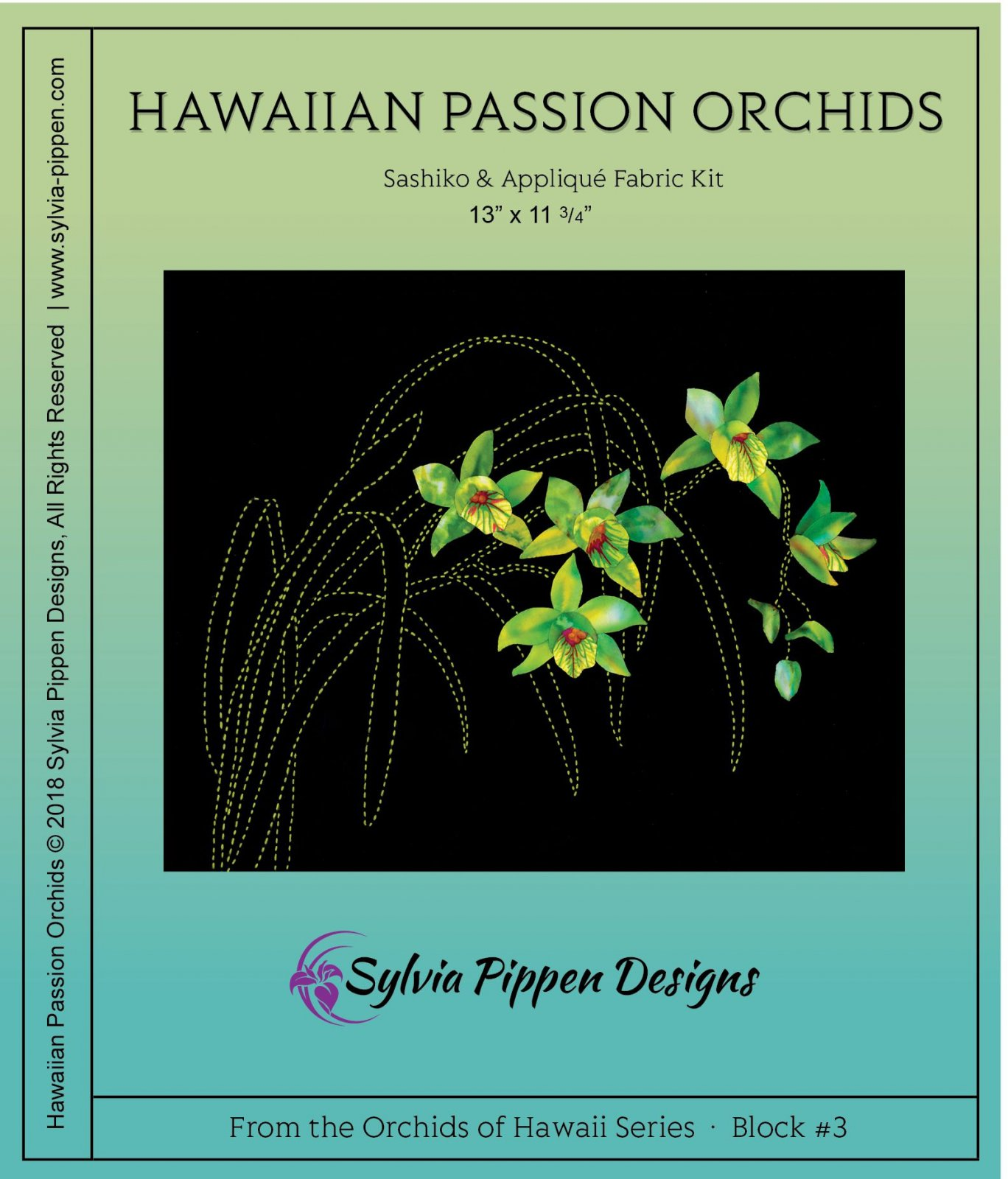 Hawaiian Passion Sashiko & Applique Fabric Kit from the Orchids of Hawaii Series